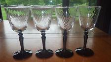 Wine Glasses Black Stem Onyx by Cristal D'Arques-Durand Swirl Optic Panel 4 6oz