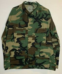 BDU Woodland Camo Hot Weather NOS Combat Coat Jacket Government Issue Size Large