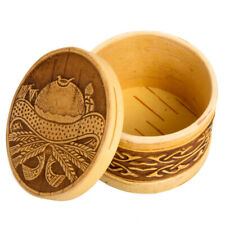 "3"" Trinket Box Birch Bark Round Small Storage Box w/ Lid Hand Made Wood Beresta"