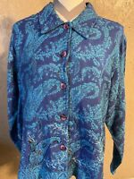 Womens Size Large Coldwater Creek sweater Button Down Collared Blue Green Design