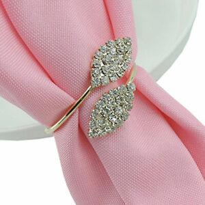 10Pcs Rhinestone Napkin Rings Handmade Serviette Buckle Holder Wedding Dinner