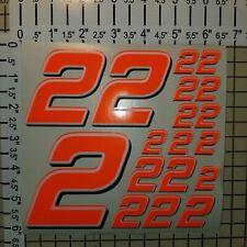 Orange FLOURESCENT #2's Racing Numbers vinyl Decal Sheet 1/8-1/10-1/12 RC Model