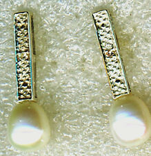 "925 Sterling Silver Oval / Pear  Pearl & Diamond Chip Earrings Length 7/8""  22mm"