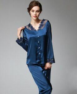 Women Lace Satin Pyjama Set Silky Ladies Autumn Lounge wear Pajamas long sleeve