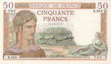 FRANCE/F17/04 // Billet de 50 FRS CERES-1933 (21/12/1935)-B.585