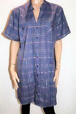 EXPRESSION Brand Check Button Front Short Sleeve Shirt Dress Size 22 BNWT #TA05