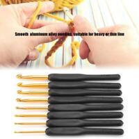 8Pcs Crochet Hook Soft Grip Set Handles Knitting Needles Aluminum Black Color AP