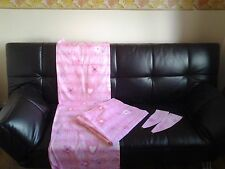 New Pink Stars/Hearts/Flowers & Butterfly Curtains + Matching Tie Backs W68X 53L