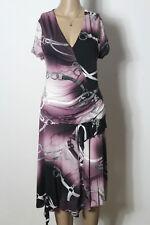 JONES Kleid Gr. 42 blau-lila-rosa Kurzarm Muster Hüft Shirt Kleid