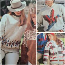 1980s Preppy Tartan Duck Nordic Waffle Cable Knitting Pattern Cleckheaton 4