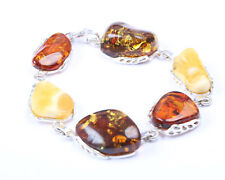 Unique Baltic Amber and Sterling Silver Bracelet