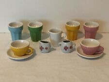 Pretend Play Kids Kitchen Ceramic Dishes Tea Set Pitcher Ice Cream Cups Lot
