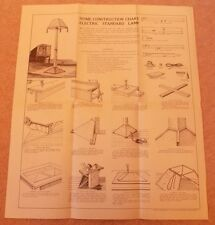 Newnes Home Mechanic 1930s Vintage Original Electric Standard Lamp Chart Plans