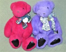 "1992 GUND VICTORIA'S SECRET TEDDY BEARS Red Purple CHARMS 14"" Plush Stuffed Toy"