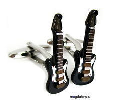 Manschettenknöpfe E-Gitarre schwarz braun weiss inkl. Geschenkbox MM0579