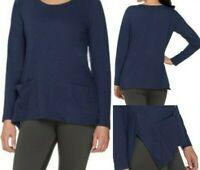LOGO Lori Goldstein Size 2X Navy Blue Top w/ Pockets, Side Slits, Asymmetric Hem