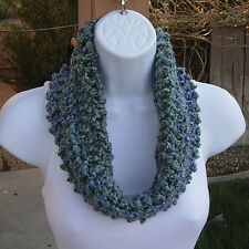 SUMMER COWL SCARF Blue Teal Green Gray Grey Small Short Crochet Knit Lightweight