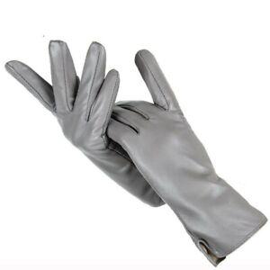 women's outdoor leather gloves autumn winter warm gloves cotton wrist mitten gra