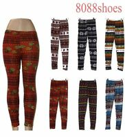 Women's Winter Pattern  Leggings Warm One Size Legging Skinny Pant NEW