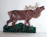 Genuine Kentucky Oak Bourbon Barrel Stave Cast Iron Moose Elk Deer Coat Hat Rack