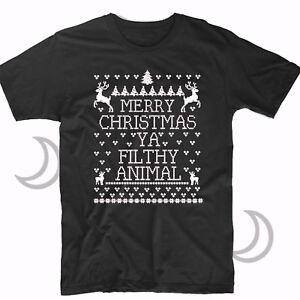 Merry Christmas Ya Filthy Animal Mens T Shirt Ugly Sweater New Funny Xmas