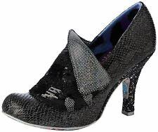 Irregular Choice Flick Flack Negro Metálico Para Mujer Tacones Zapatos Puntera Cerrada