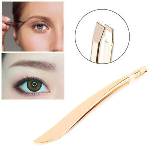 Professional Eyebrow Tweezers Feather Hair Remover Slanted Tip Stainless Steel
