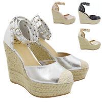 Women Wedge Heel Platform Sandals Ladies Ankle Strap Espadrilles Court Shoes 3-8
