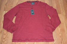 NWT Mens G.H. BASS & Co. Red Dahlia Henley Thermal L/S Winter Shirt XL X-Large