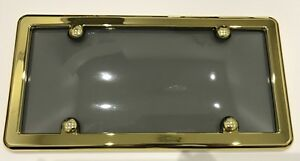 UNBREAKABLE Tinted Smoke License Plate Shield Cover + GOLD Frame for SMART