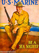 Be a Sea Soldier Marines Marine WWI American Patriotic Advertisement Poster