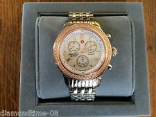 NEW MICHELE JETWAY TWO-TONE ROSE & STEEL MOP DIAL DIAMOND LADIE'S WATCH