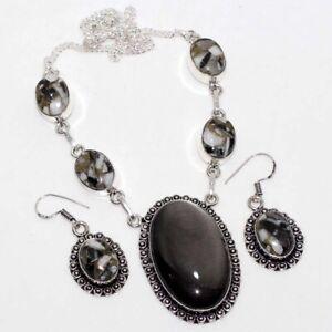 Silver Leaf White Buffalo Turquoise Handmade Ethnic Necklace Earrings Set GW