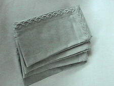 """WILLIAMS SONOMA CHAIN LINK EMBROIDERED COTTON NAPKINS SET OF 4 MRGGRY 20""""x2"""