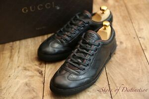 Men's Gucci Black Leather Trainers Sneakers Shoes UK 6 EU 40 US 7
