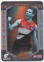 2017 Teamcoach Best And Fairest Checklist Card - Toby Greene - GWS Giants