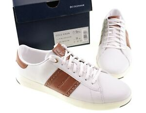 NWB Cole Haan Grand Series White British Tan Leather Tennis Shoe Sneakers 11 NEW
