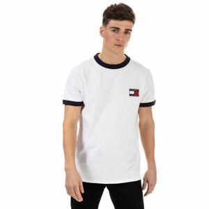 Men's Tommy Hilfiger Branded Ringer Crew Neck Cotton T-Shirt in White