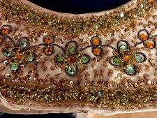 Heavily Beaded Yoke From Vintage Dress Gold Green Orange Bronze Fabric Sequins
