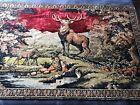 """Vtg Velvet Wall Hanging Tapestry Deer Outdoors Hunting 74""""x47"""" Fringe On Edge"""