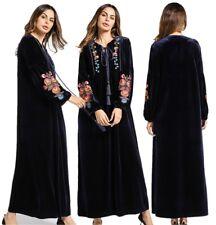 Women Winter Velvet Embroidery Dress Muslim Loose Abaya Kaftan Islamic Maxi Robe