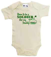 """Dirty Fingers """"Born to be Soldier like Daddy"""" Baby Bodysuit Babygrow Army Tank"""