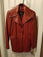BEAUTIFUL MISS ADLER WOMEN'S BROWN LEATHER JACKET - SIZE 12 Button Up 2 Pockets