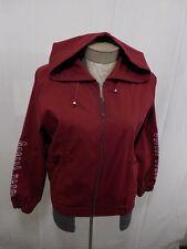 Womens Full Zip M Jacket Sport Tennis Running Track Hoodie Elastic Hem Cuffs Red