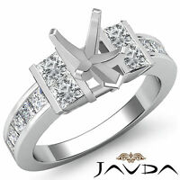 Princess Side Diamond Engagement Ring 14k White Gold 1Ct Pear Cut Semi Mount