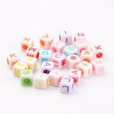 100PCS Mixed Color Acrylic Alphabet Cube Floating Charms Letter Beads DIY Making