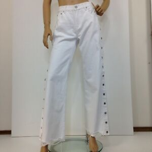 Ziggy white straight-wide leg mid rise jeans with snap buttons up leg