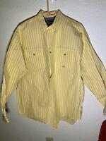 Mens Roper XL Yellow Striped Long Sleeve Shirt, Blue Inside Cuff Very Nice