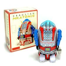 "CRAGSTAN MR. ATOMIC ROBOT 4"" NEW Silver Grey Wind Up Tin Toy NIB Retro Space Age"