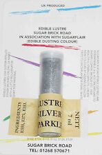 Sugarflair Silver Sparkle Lustre Dust Powder 7ml Edible Sparkly Colour Tint
